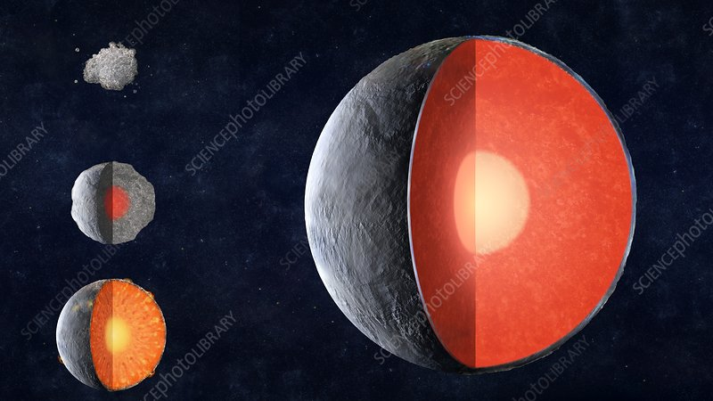 Formation of a rocky planet, illustration