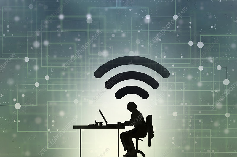 Man working at desk connected to cyberspace, illustration