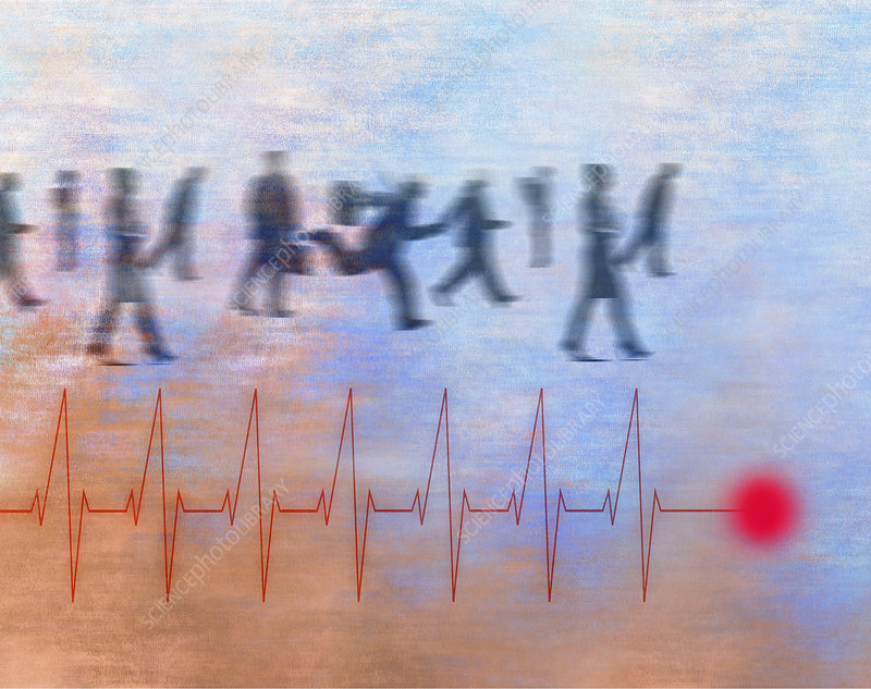 Business people rushing and heartbeat, illustration
