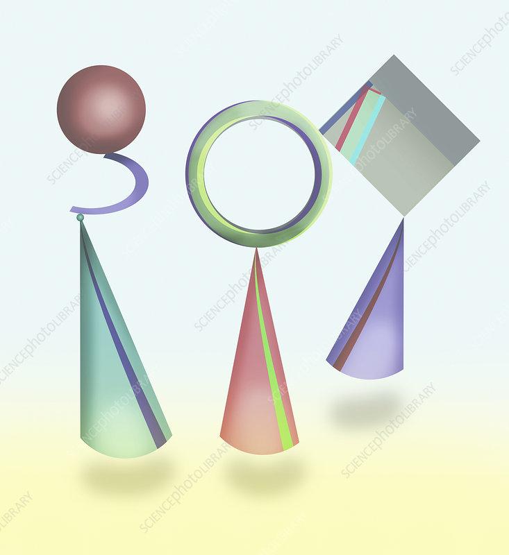 Abstract balancing geometric shapes, illustration