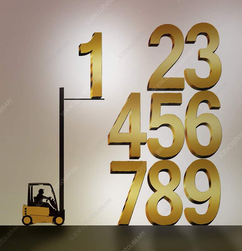 Forklift truck stacking numbers in order, illustration