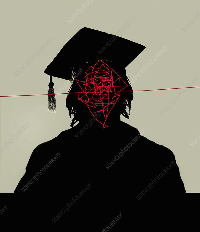Tangled lines inside of graduate's head, illustration