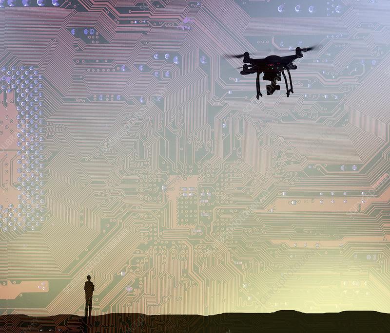 Man flying drone in circuit board sky, illustration