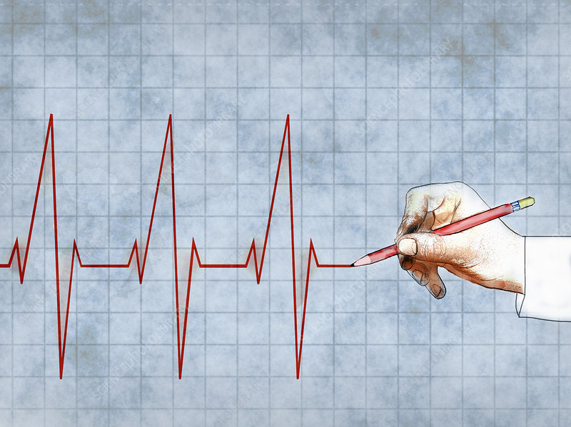 Man's hand drawing heartbeat, illustration