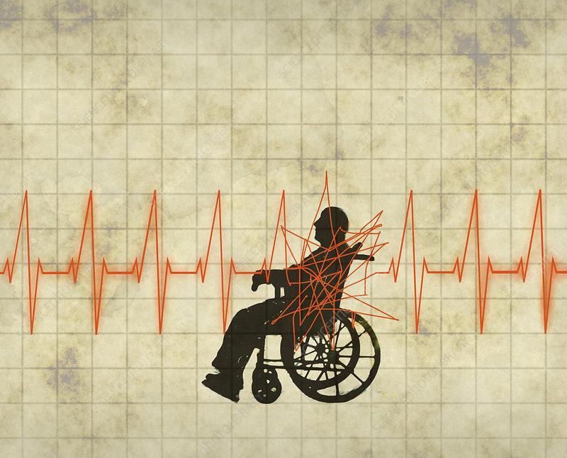 Elderly man with heart problem, illustration