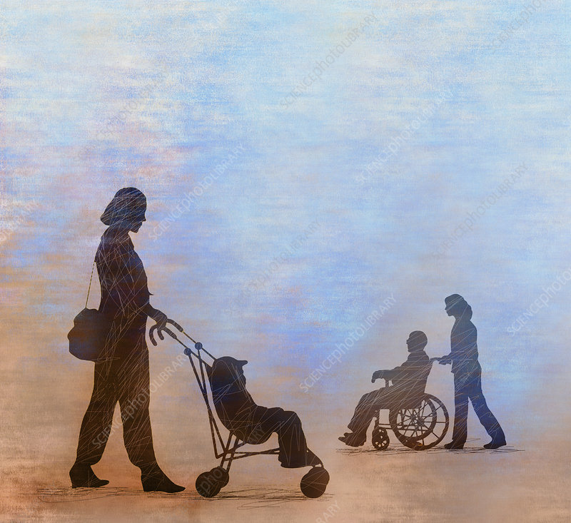 Child in pushchair and old man in wheelchair, illustration
