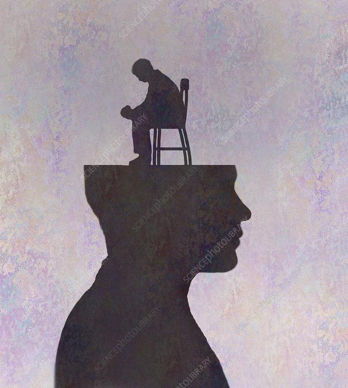 Depressed man sitting inside of man's head, illustration