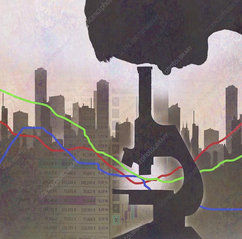 Man analysing data under microscope, illustration