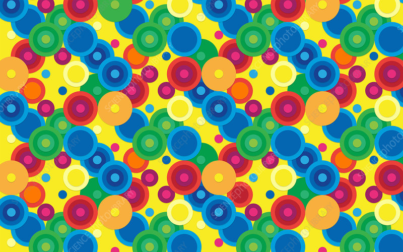 Abstract pattern of multi coloured circles, illustration