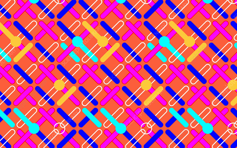 Abstract crisscrossing repeat pattern, illustration