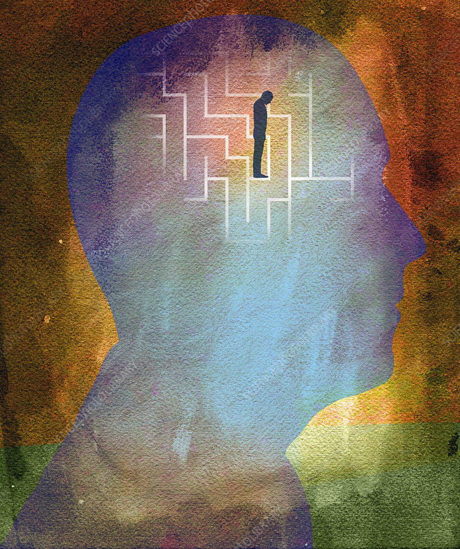 Man trapped in maze inside of head, illustration