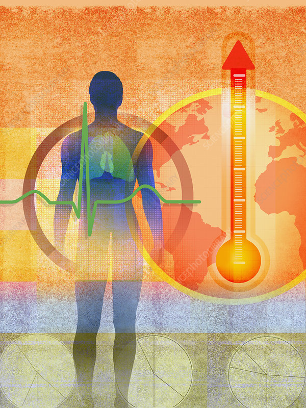 Global warming and impact on health, illustration