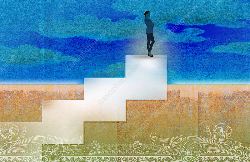 Businesswoman standing on top of stairs, illustration