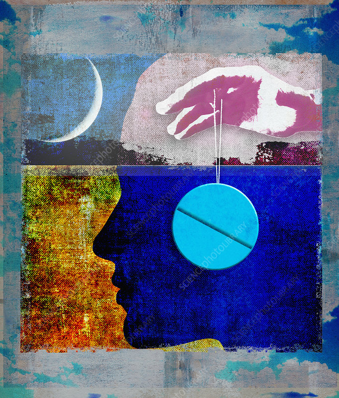 Sleeping pill as hypnosis pendulum, illustration