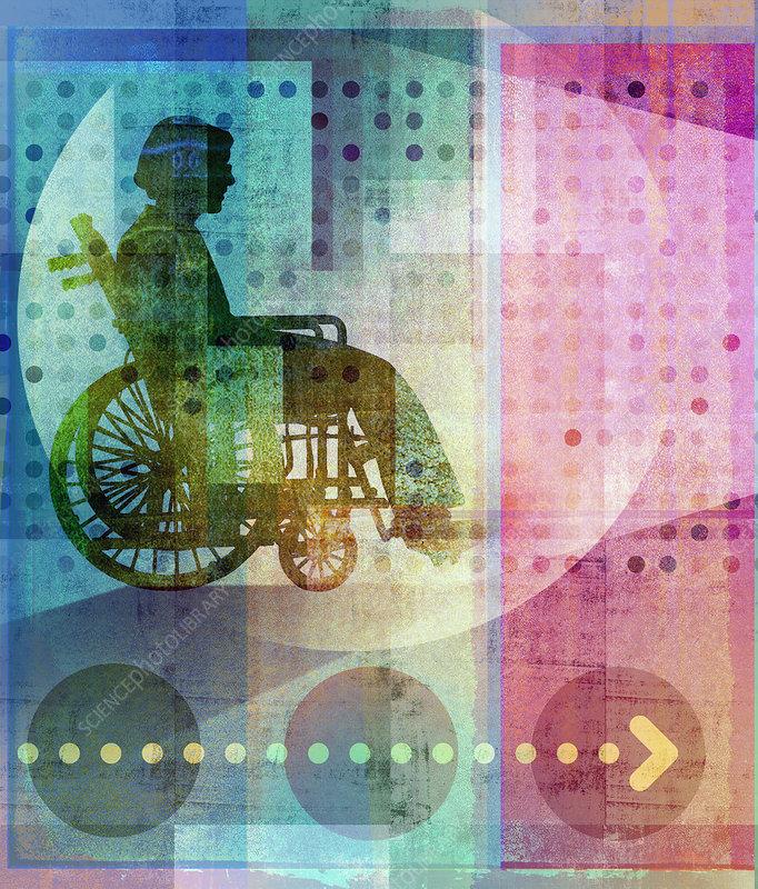 Elderly woman in wheelchair, illustration