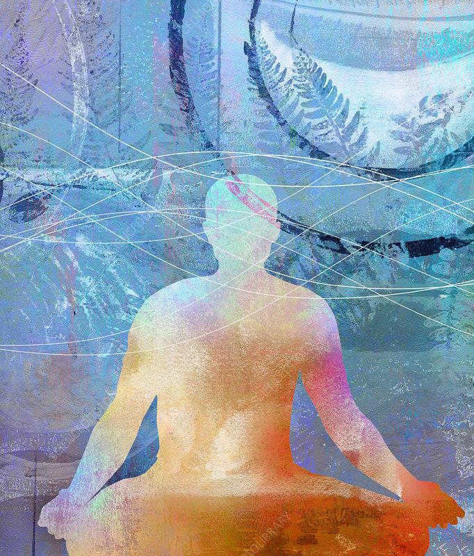 Man meditating in lotus position, illustration
