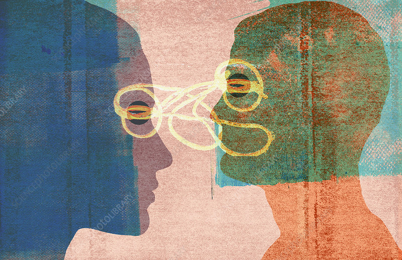 Tangled lines connecting couple's profiles, illustration