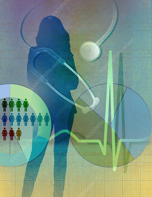 Women's health statistics, illustration