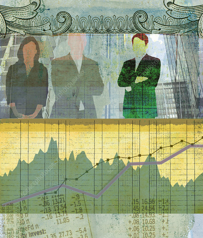 Business, finance and banking collage, illustration