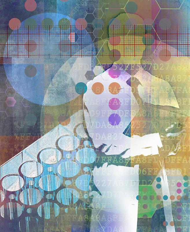 Scientist analysing data, illustration
