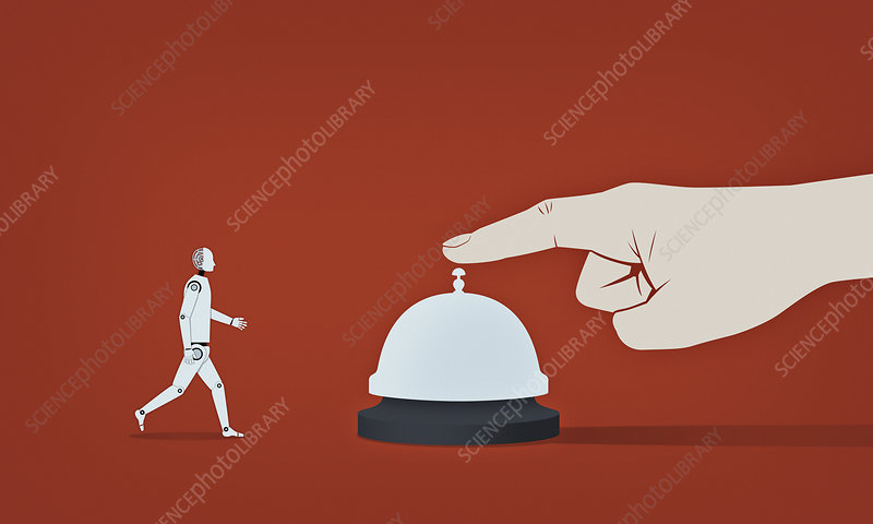 Robot responding to hand ringing service bell, illustration