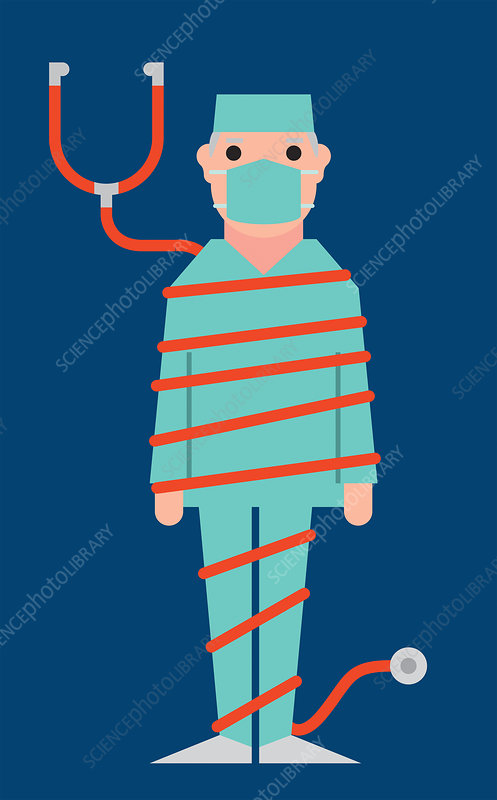 Surgeon tied up in stethoscope, illustration