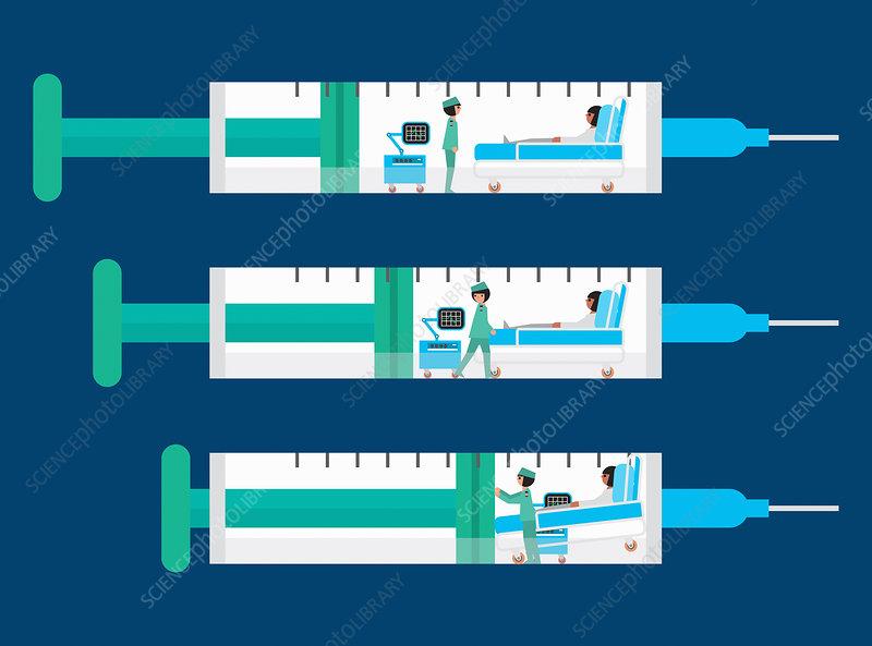 Hospital ward being squeezed inside of syringe, illustration