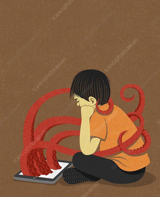 Octopus tentacles emerging from digital tablet, illustration