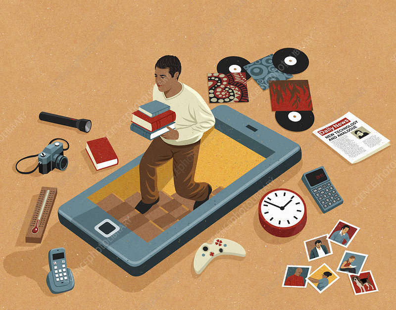 Things made obsolete by smartphone apps, illustration