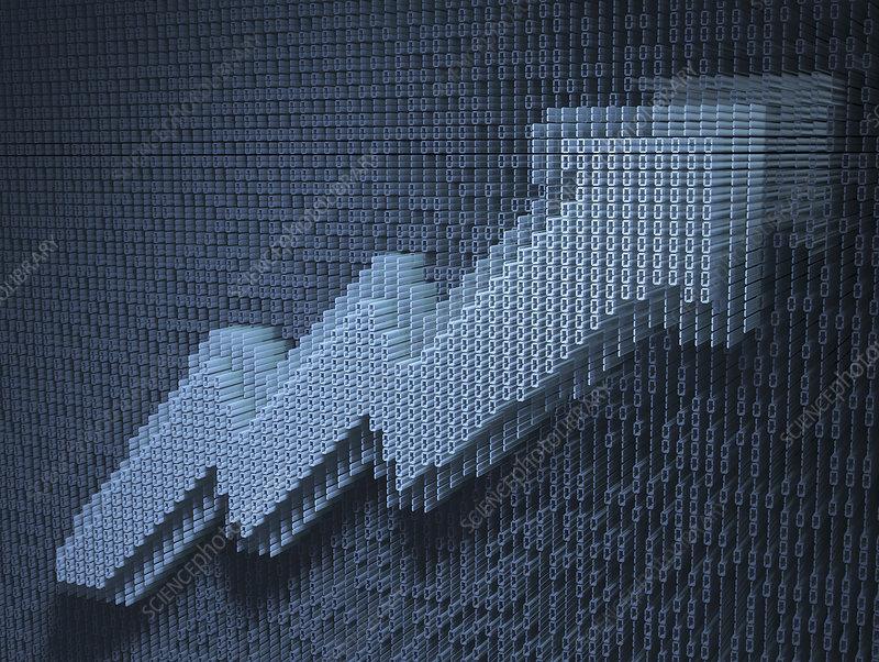 Rising line graph arrow in binary code, illustration
