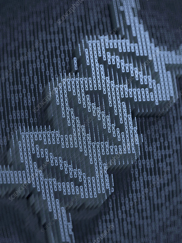 Double helix in three dimensional binary code, illustration