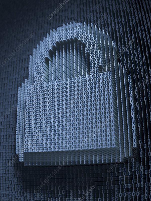 Padlock in three dimensional binary code, illustration