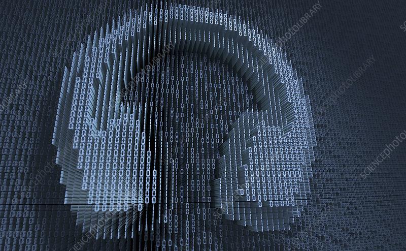 Headphones in three dimensional binary code, illustration