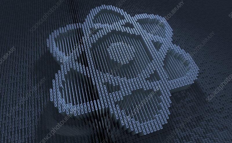 Atom symbol in three dimensional binary code, illustration