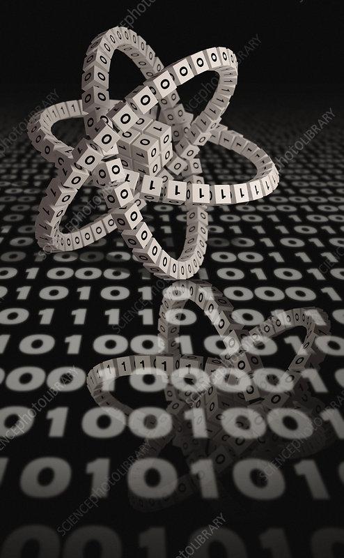 Three dimensional atom symbol and binary code, illustration