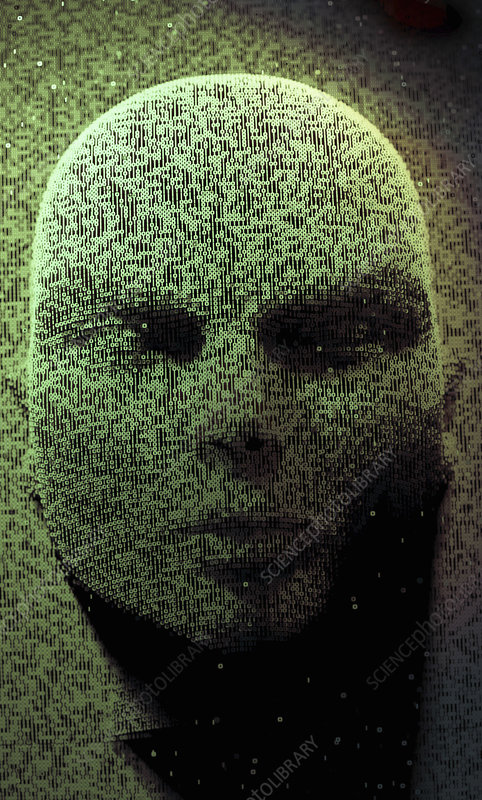 Three dimensional face emerging in binary code, illustration
