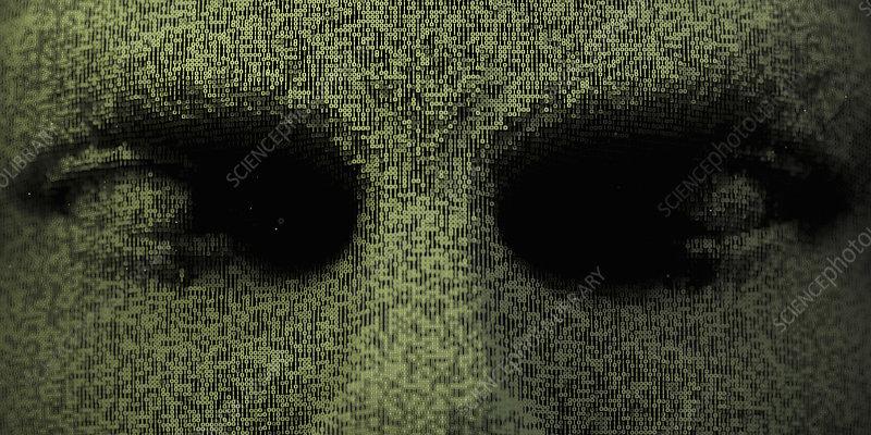 Three dimensional eyes in binary code, illustration