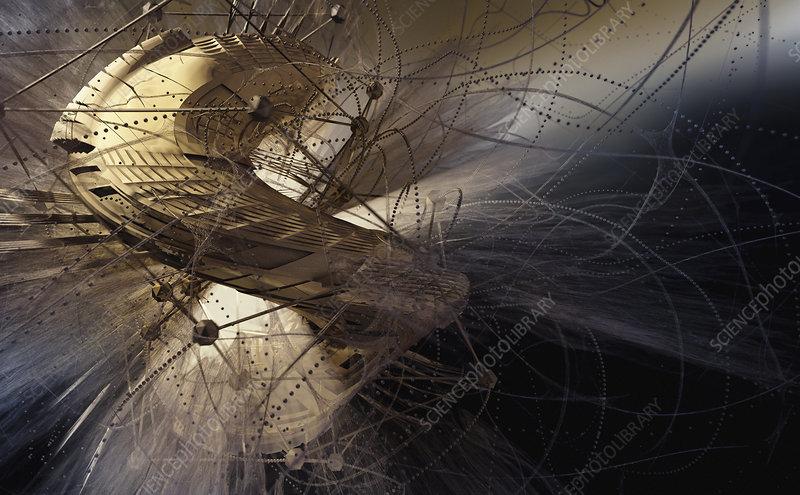 Chaotic futuristic twisting shapes, illustration