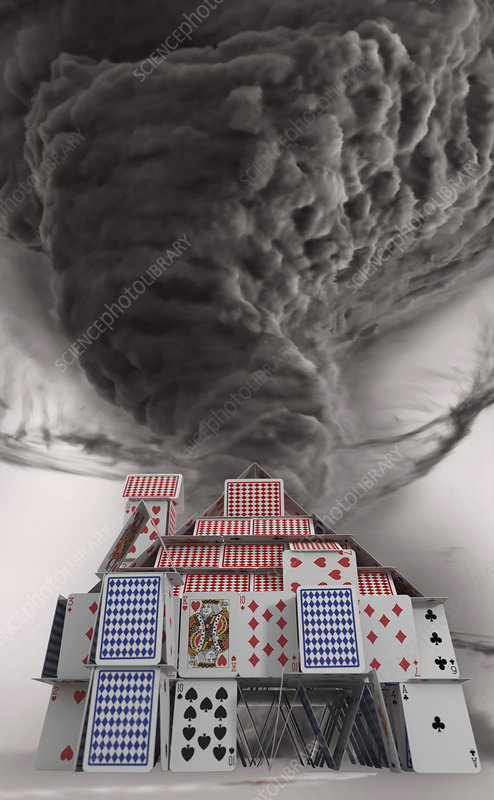 Tornado dust cloud approaching house of cards, illustration