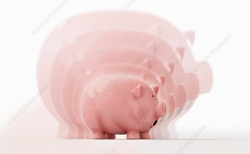 Shrinking piggy bank, illustration
