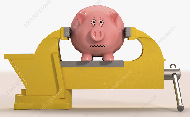 Piggy bank being squeezed in vice grip, illustration