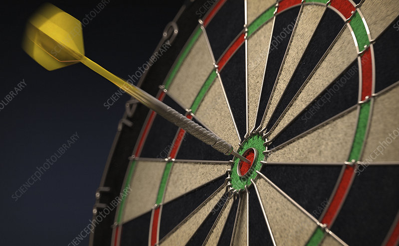 Dart hitting bull's eye on dartboard, illustration
