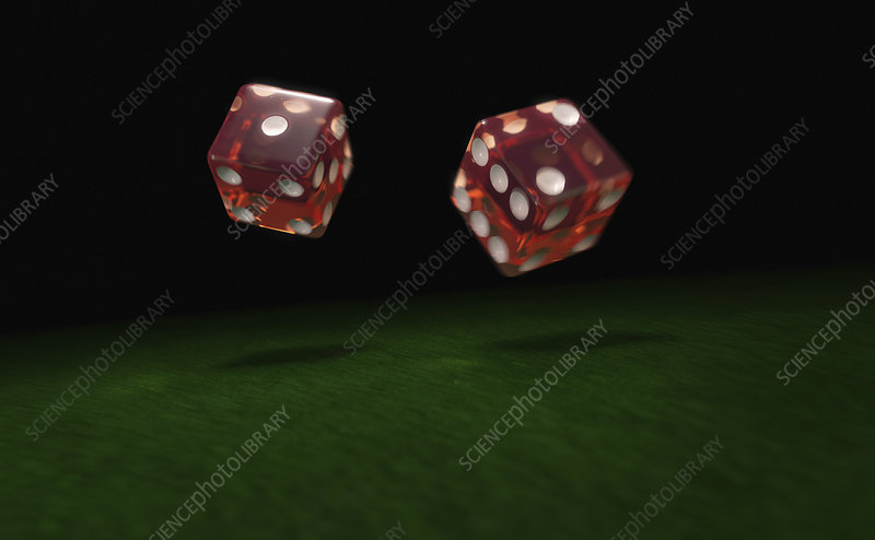 Close up of two rolling dice, illustration