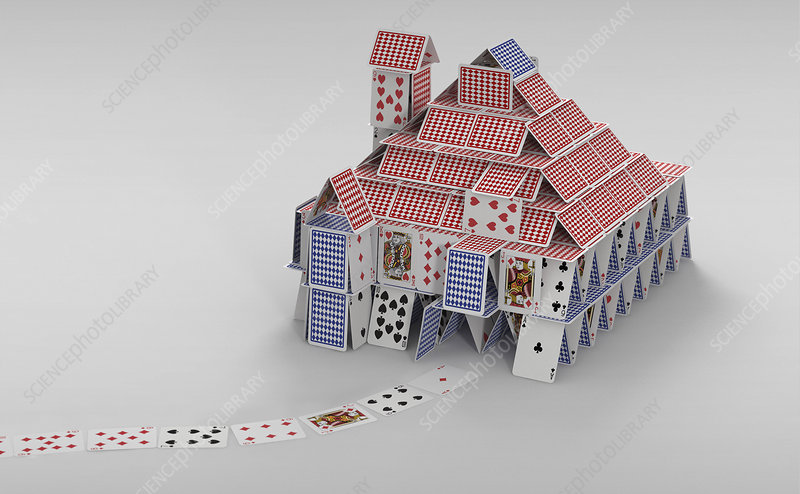Detached house of cards, illustration