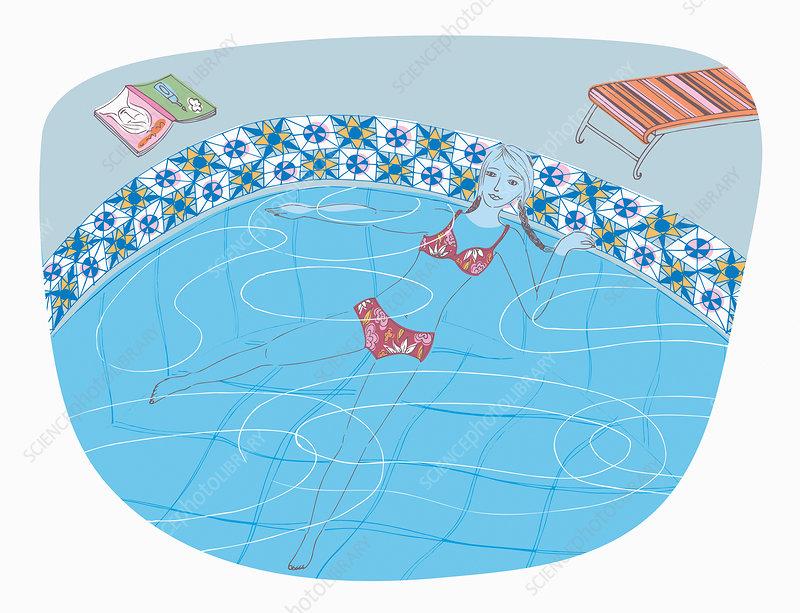 Woman doing aquapilates in swimming pool, illustration