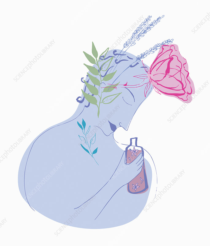 Floral pattern over woman smelling perfume, illustration