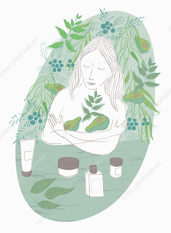 Woman embracing avocado skin care, illustration