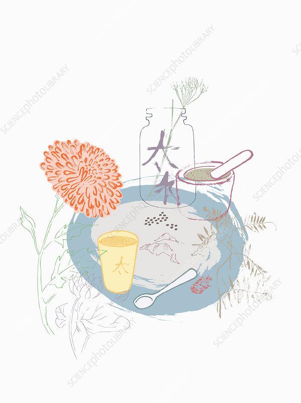 Chinese herbal medicine, illustration