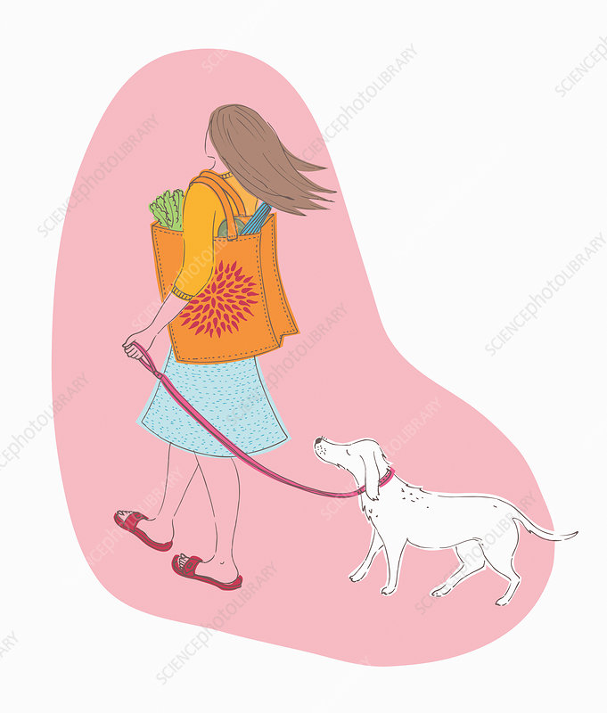 Woman carrying shopping in reusable bag, illustration