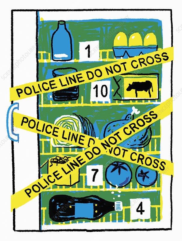 Unhealthy fridge as crime scene, illustration